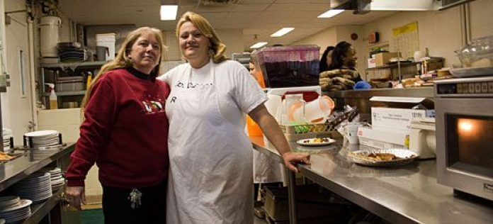 The cafeteria at Second Base Youth Shelter, where its successful catering business presides.