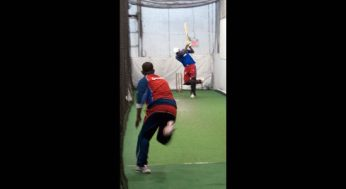 A bowler delivers at the Canadian Cricket Academy.