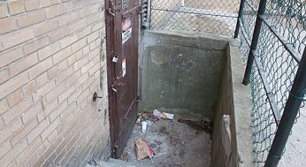A dirty stairwell at a building just south of Kingston Road.