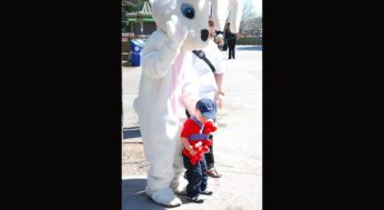 The Easter bunny joined the festivities, stopping for photos with the excited children.