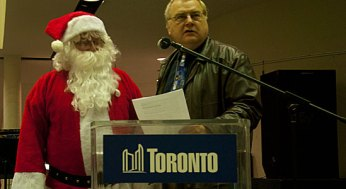 Scarborough councillor Mike Del Grande speaks at the Scarborough Civic Centre tree-lighting event Dec. 1. Along with watching performances, event attendees got to count down to a large Christmas tree being lit up.