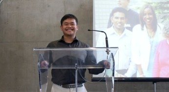 Christian Rollan, a local high school student was the enthusiastic emcee of the Youth Career and Employment fair.