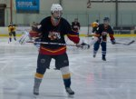Savage skates around during the warm up before the game at Canlan Ice Sports in Scarborough.