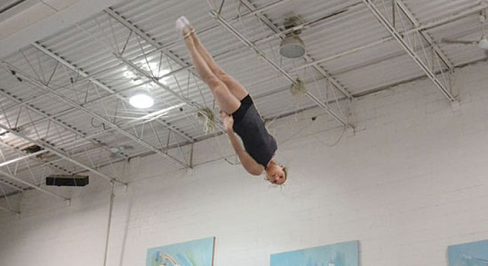 Rosannagh MacLennan, 23, practices her jumping at Skyriders Trampoline Club in Richmond Hill, Ont., on Feb. 23. MacLennan qualified to represent Canada in this year's Summer Olympic Games in London.