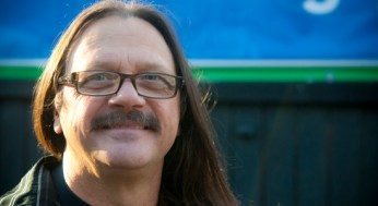 Larry Kosowan has been growing out his hair for about three years. Kosowan's hair is approximately 12 inches long.