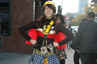 A participant in a Wonder Woman outfit.