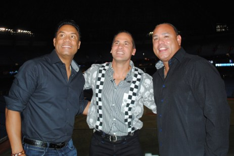 Fromleft to right: Robbie Alomar, Omar Vizquel and Carlos Baerga are all smiles as the commemorate Vizquel career at a celebration before Wednesday's game at the Roger's Centre.