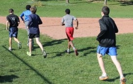 Cross country team members working up a sweat in practice
