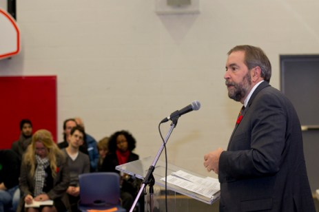 Thomas Mulcair answered questions from Scarborough residents regarding recent gun violence.