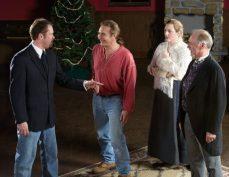 John Wilson (Sandy Stephens, left), Jack Kipp (Alex Bortoluzzi), Alice Woodstock (Carolyn Williamson, middle), and The Great Prospero (Jeremy Henson, right) argue over who the murderer is.