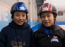 Mila and Megan Abellera were hockey players before they started speed skating