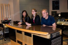 Jen Fabico (left), Amanda Rabey and Mike Smith in the Phase One recording studio.