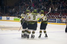The Battalion celebrate the first goal as a new OHL franchise.