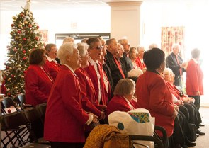 Singing Christmas carols is enjoyable for these singers.