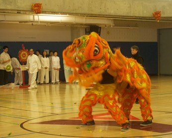 The traditional Lion Dance commences with a vibrant orange dragon displaying the vibrant Chinese culture.