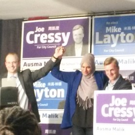 Layton, Malik and Cressy together, celebrating their respective victories