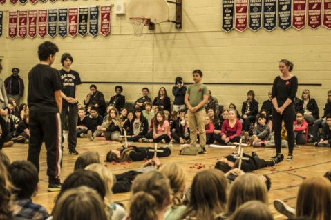 This dramatic performance by Grade 8 students pays tribute to Canada's fallen soldiers.