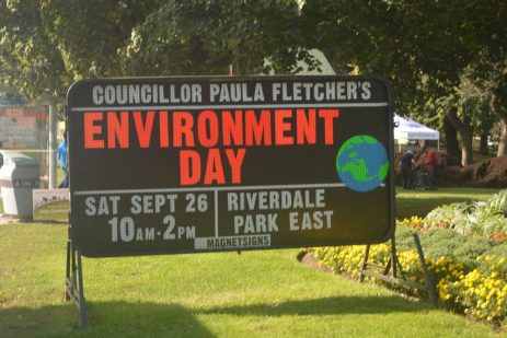 A sign welcomes attendees to Environment Day at Riverdale Park, a popular annual event in the community.