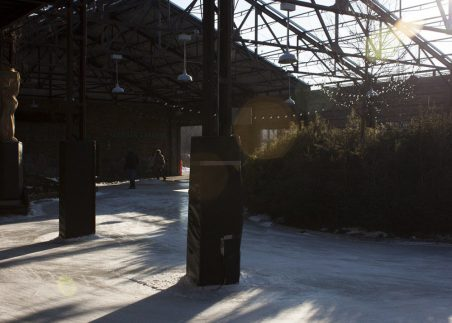 Sunlight shines across the rink in mid-afteroon.