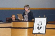 Councillor Janet Davis reading the Agnes Macphail Day Declaration at the start of the award ceremony.