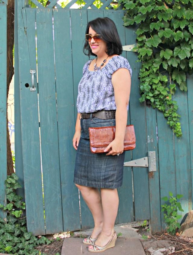 jean pencil skirt