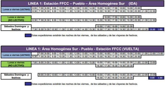 Nuevos horarios Línea 1 Transporte Urbano de Torrelodones