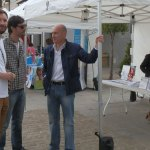 Juan Antonio Ruiz-Valdepeñas y Guillermo Martín (Secretario General y Secretario de Organización del PSOE de Torrelodones), con Miguel Ángel Galán, Presidente de la AET