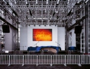 Deserted stage with large LED screen, Shanghai, China.