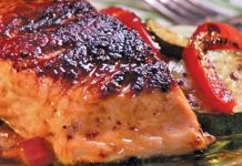 Grilled salmon with maple & mustard glaze