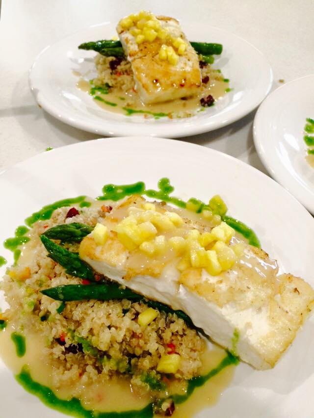 Grilled Halibut with a Warm Quinoa Salad and Asparagus
