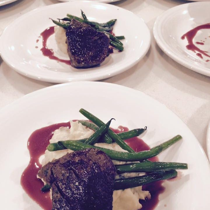 Wagyu Beef Tenderloin with Garlic Mashers and Green Beans