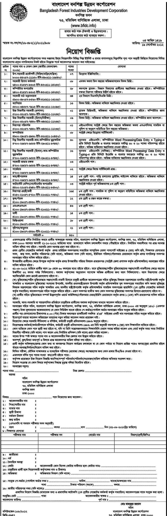 Bangladesh Forest Industries Dev. Corporation (BFIDC) job