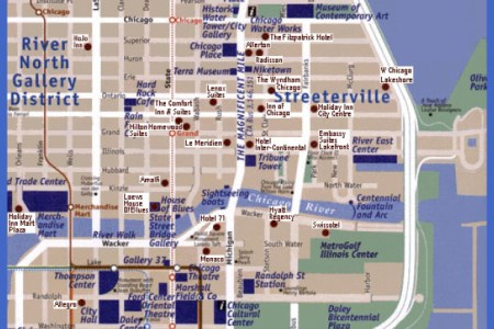 chicago map map travel holiday vacations