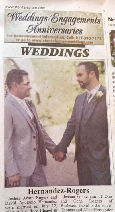 Fort Worths Daily Newspaper Publishes Its First Same Sex Wedding Announcement
