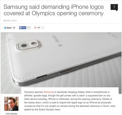 Samsung Said demanding iPhone logos covered at Olympics opening Ceremony
