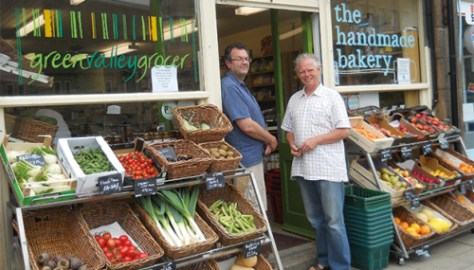 The Green Valley Grocer is a community cooperative in Slaithwaite. It sells fresh fruit, vegetables, fish, artisanal bread and a great variety of cheeses and dairy products. Photo: Fiona Ward
