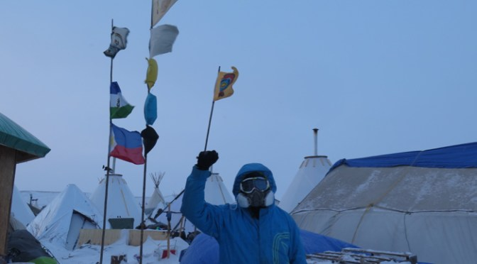 Water Protectors like Michael Costabile continue to arrive at Standing Rock, prepared to brave Arctic temperatures and in some cases, potentially lethal force from law enforcement. Tracy L. Barnett photo