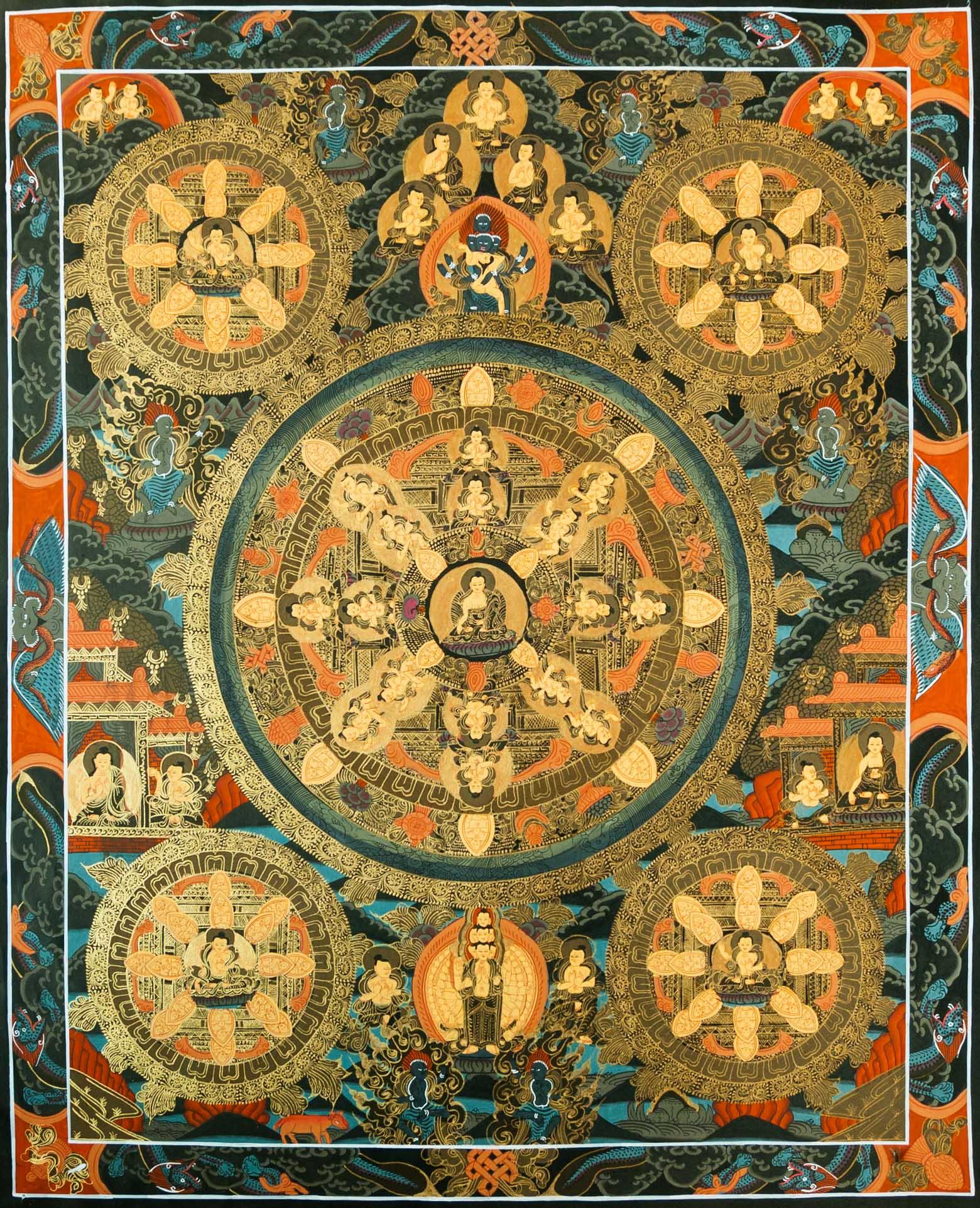 Five Dhyani Buddhas Thanka Painting