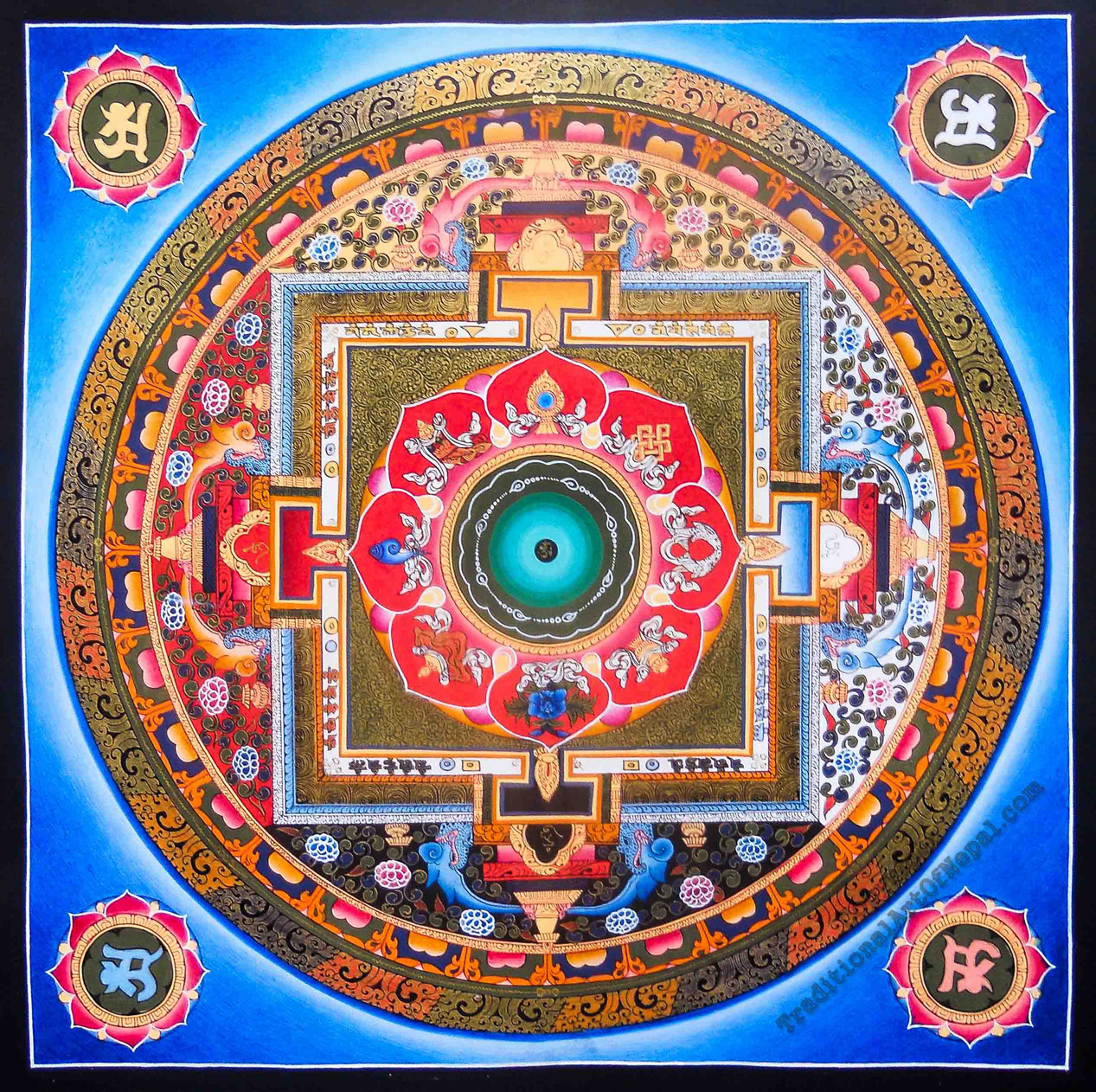 Eight auspicious symbols mandala traditionalartofnepal ethnic tibetan painting buycottarizona