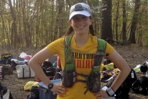 picture of rebecca schaefer with the UltrAspire Alpha pack