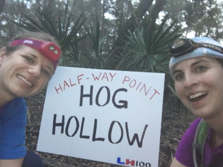 Arielle and me when we hit 50 miles. We thankfully saw no hogs!