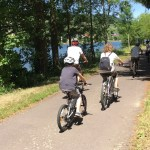 family on bike trail