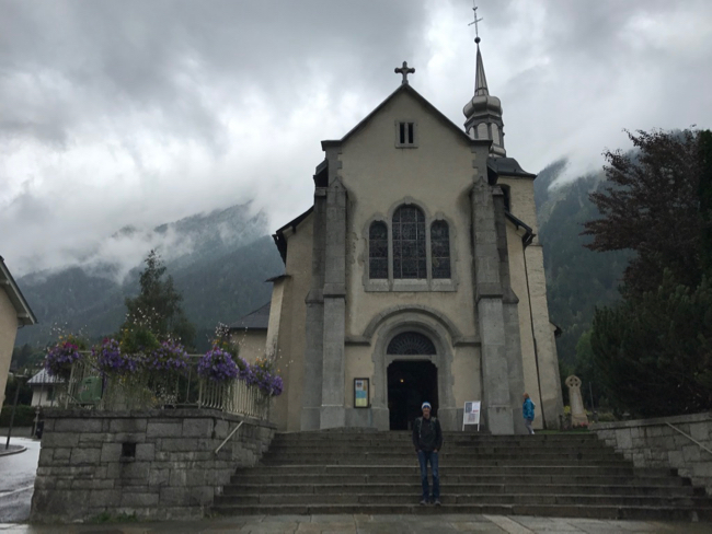 Moody skies at the Eglise Saint-Michel in Chamonix.