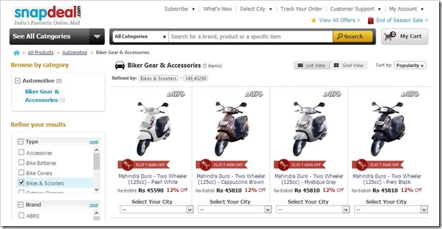 Snapdeal Auto offers