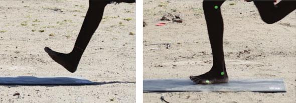 Fotsättning vid barfotalöpning på savannen