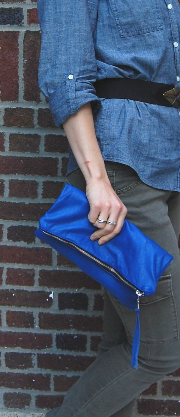 DIY Lined Foldover Leather Clutch Purse Tutorial