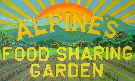 Alpine Food Sharing Garden sign