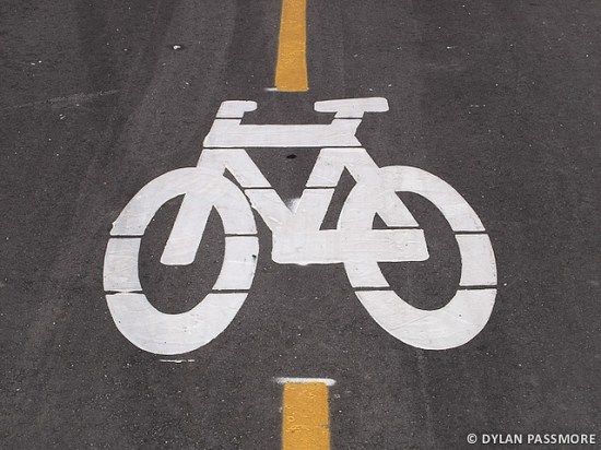 bicycle symbol on pavement