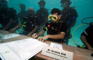 In 2009 the island nation of Maldives, knowing they will be erased by sea level increases due to climate change, held an underwater Cabinet meeting to urge world leaders to reduce C02 emissions. The chief export of Maldives is subtlety.