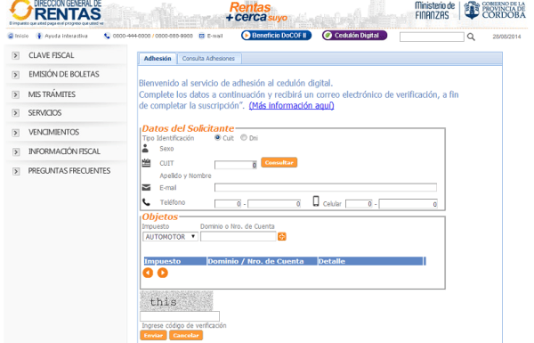 Rentas Cordoba - Cedulon digital - Completar datos